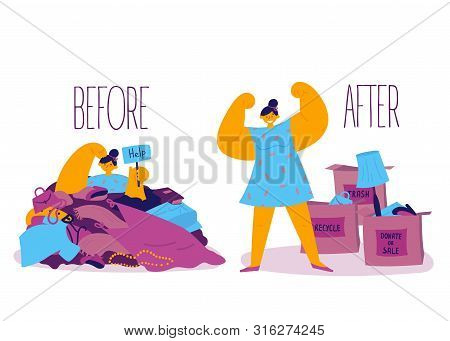 Minimalistic Lifestyle.a Woman Is Stuck In A Pile Of Unnecessary Clothes And Things And Wants To Sor