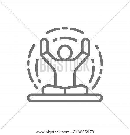 Vector Meditation, Yoga, Lotus Position Line Icon.