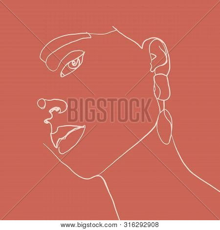 Continuous Line, Drawing Of Beauty Woman Face With Earring , Fashion Concept, Woman Beauty Minimalis