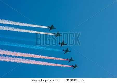 Moscow, Russia - May 09, 2014: Su-25 Soviet And Russian Attack Aircraft, Armored Subsonic Military A