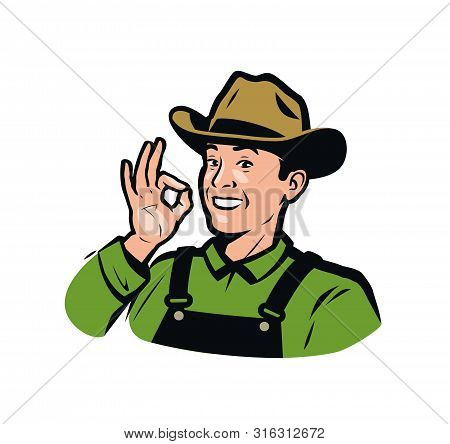 Funny Farmer In The Hat. Farm Product Logo. Vector Illustration