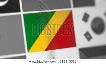 Republic Of Congo National Flag Of Country. Republic Of Congo Flag On The Display, A Digital Moire E