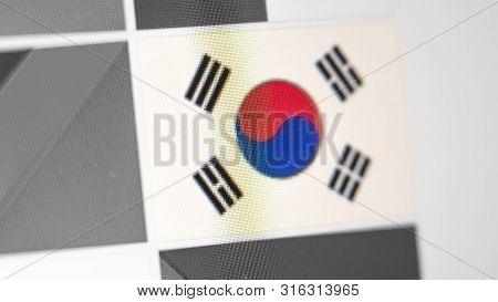 Republic Of Korea National Flag Of Country. South Korea Flag On The Display, A Digital Moire Effect.