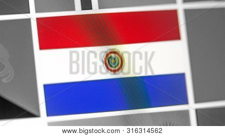 Paraguay National Flag Of Country. Paraguay Flag On The Display, A Digital Moire Effect. News Of Geo