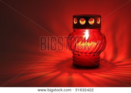 Memory  Lantern With Alight Candle