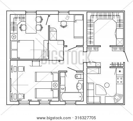 Architectural Plan Of A House. Layout Of The Apartment With The Furniture In The Drawing View. With