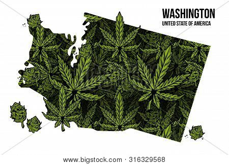 Map Of Washington State United States Of America (usa) Made From Natural Plant Leaves Of Marijuana,
