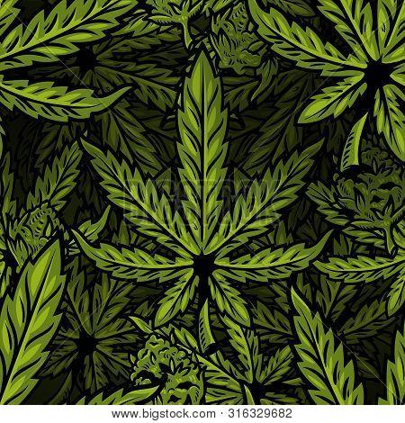 Seamless Textile Pattern With Natural Bio Eco Plant Leaves Of Marijuana, Cannabis, Weed, Hemp Cbd Oi