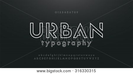 Abstract Urban Thin Line Font Alphabet. Minimal Modern Fonts And Numbers. Typography Typeface Upperc