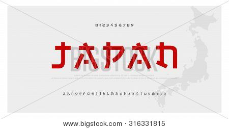 Japanese Modern Style Alphabet Font Typeface. Typography Japan Asian Fonts And Number. English Lette
