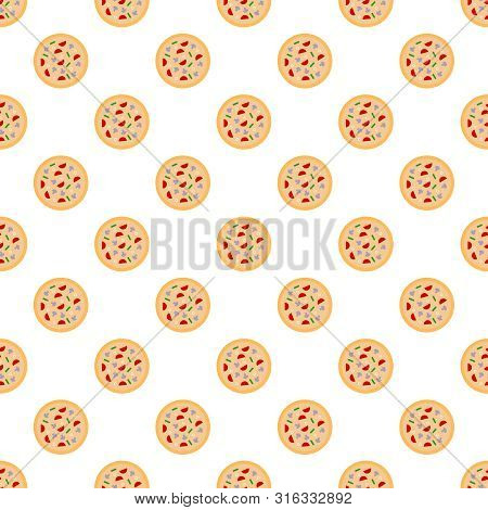 Vector Seamless Pattern With Round Italian Pizzas.