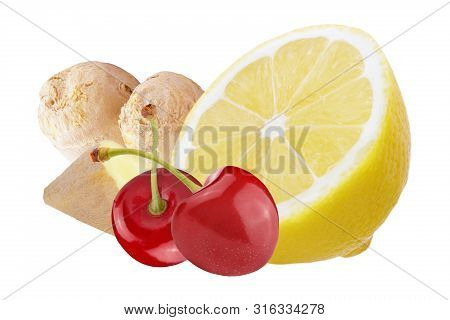 Fresh Ginger With Lemon And Cherries Isolated On White Background
