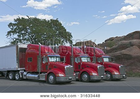 Semi Trucks Parked Together