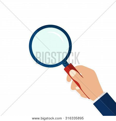 Magnifying Glass In Hand In Flat Style.icon Of Hand Holding A Magnifying Glass On Isolated Backgroun