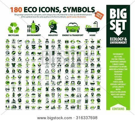 Big Vector Set Of Eco Icons, Huge Pack Of Ecology & Environment Themes: Alternative Renewable Energy
