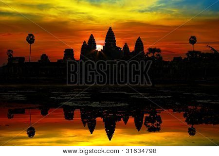 Angkor wat on a background of the sanset sky. Cambodia poster