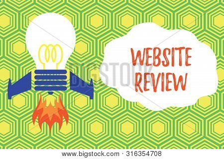 Handwriting text writing Website Review. Concept meaning Reviews that can be posted about businesses and services Top view launching bulb rocket fire base. Starting new project. Fuel idea. poster