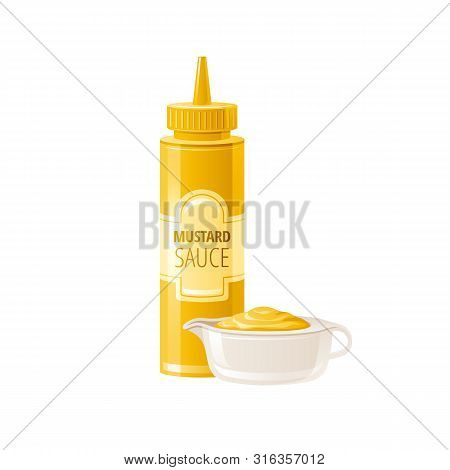 Mustard Sauce. Hot American Mustard Sauce With Bowl Cup. Food Icons With Text Logo Label Packaging,