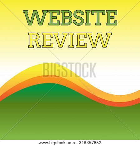 Text sign showing Website Review. Conceptual photo Reviews that can be posted about businesses and services Wavy Abstract Design Three Tone Background with Two Curvy Lines in Center. poster