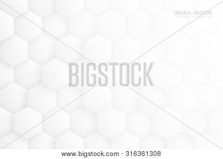3d Vector Hexagonal Blocks Structure White Abstract Background. Three Dimensional Science Technologi