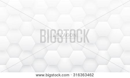 3d Vector Hexagon Tech Structure Abstract White Background. Science Technology Hexagonal Blocks Patt
