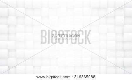 3d Vector Tetragonal Blocks White Abstract Background. Science Technology Squares Grid Structure Lig