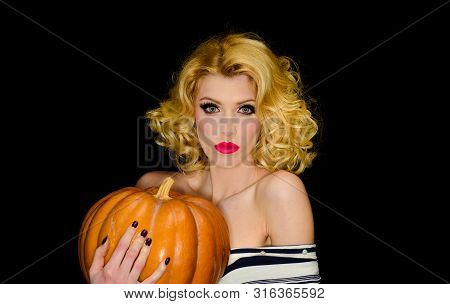31 October. Halloween. Serious Blonde Girl With Pumpkin. Trick Or Treating. Halloween Party. Happy H