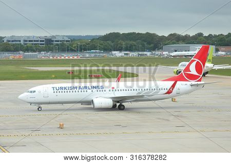 London England - May 31, 2019: Turkish Airline Airplane At Gatwick Airport London England.