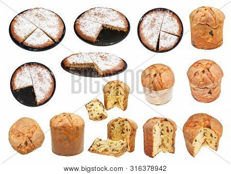 Set From Italian Pine Nuts And Panettone Easter Cakes Isolated On White Background
