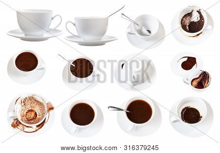 Divination On Coffee Grounds - White Porcelain Cup With Coffee Sediments On Saucer Isolated On White