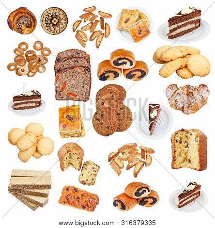 Collection From Various Pastries Isolated On White Background
