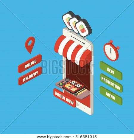 Online Fast Food Order And Delivery Concept, Giant Isometric Smartphone With Japanese Food, Sushi Se