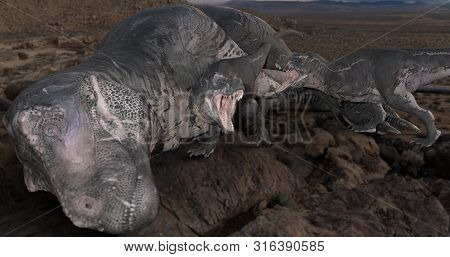 A Scene Of A Mother Dinosaur With Her Kins. 3d Illustration.