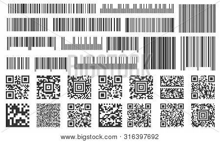Digital Barcode. Supermarket Bar Labels, Shop Inventory Code And Technology Codes Bars. Barcodes Sca