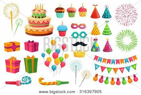 Cartoon Party Kit. Rocket Fireworks, Colorful Balloons And Birthday Gifts. Carnival Masks And Sweet