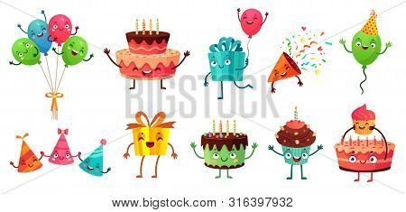 Cartoon Birthday Celebration Set. Party Balloons With Funny Faces, Happy Birthday Cake And Gifts Mas