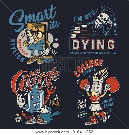 College Colorful Vintage Badges With Funny Characters Of Smart Notepad Brush Cheerleader Skeleton In