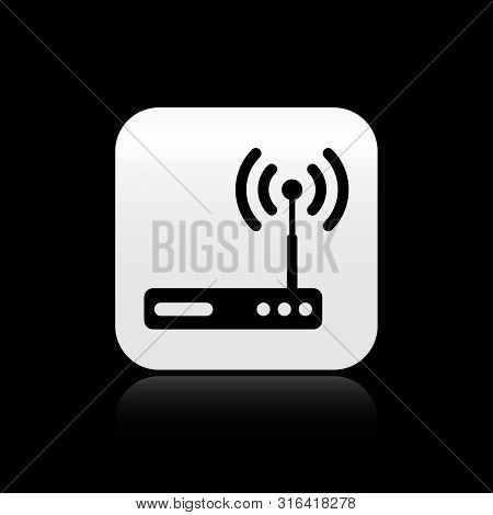 Black Router And Wi-fi Signal Symbol Icon Isolated On Black Background. Wireless Ethernet Modem Rout