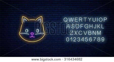 Glowing Neon Sign Of Cute Fox In Kawaii Style With Alphabet. Cartoon Happy Smiling Foxy In Neon Styl
