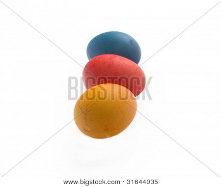 Three Coloured Painted Eggs Isolated