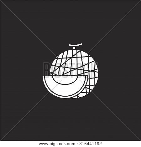 Melon Icon. Melon Icon Vector Flat Illustration For Graphic And Web Design Isolated On Black Backgro