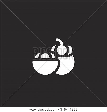 Mangosteen Icon. Mangosteen Icon Vector Flat Illustration For Graphic And Web Design Isolated On Bla