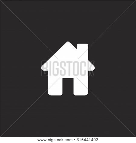 Home Icon. Home Icon Vector Flat Illustration For Graphic And Web Design Isolated On Black Backgroun