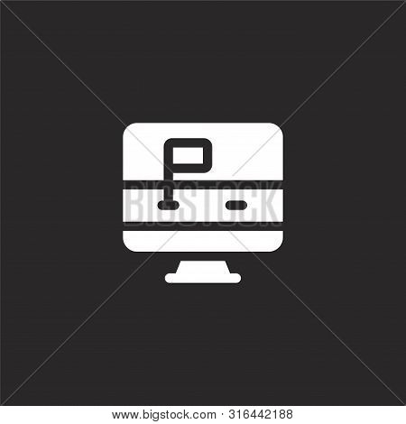 Computer Icon. Computer Icon Vector Flat Illustration For Graphic And Web Design Isolated On Black B