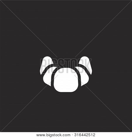 Croissant Icon. Croissant Icon Vector Flat Illustration For Graphic And Web Design Isolated On Black