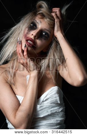 Weird Mad Girl. Morbid Sad Young Woman (freak) With Messy Make-up. Portrait Of The Madman (mental Si