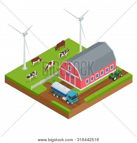 Isometric Organic Farm Field Or Dairy Farm. Automated Agriculture, Technology. Robot Farmers. Farm C