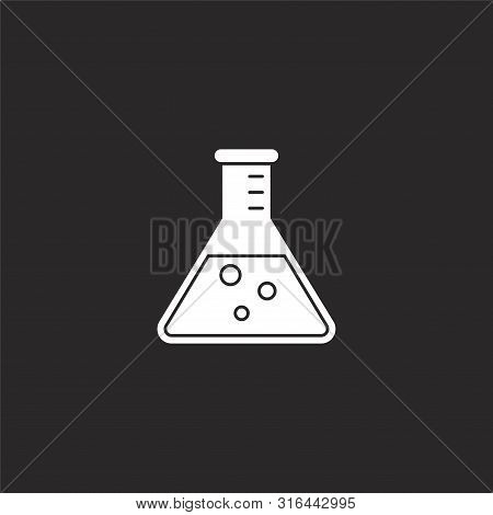 Beaker Icon. Beaker Icon Vector Flat Illustration For Graphic And Web Design Isolated On Black Backg