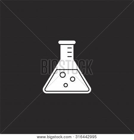 Beaker Icon. Beaker Icon Vector Flat Illustration For Graphic And Web Design Isolated On Black Backg