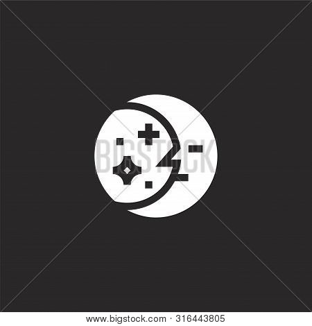 Moon Icon. Moon Icon Vector Flat Illustration For Graphic And Web Design Isolated On Black Backgroun